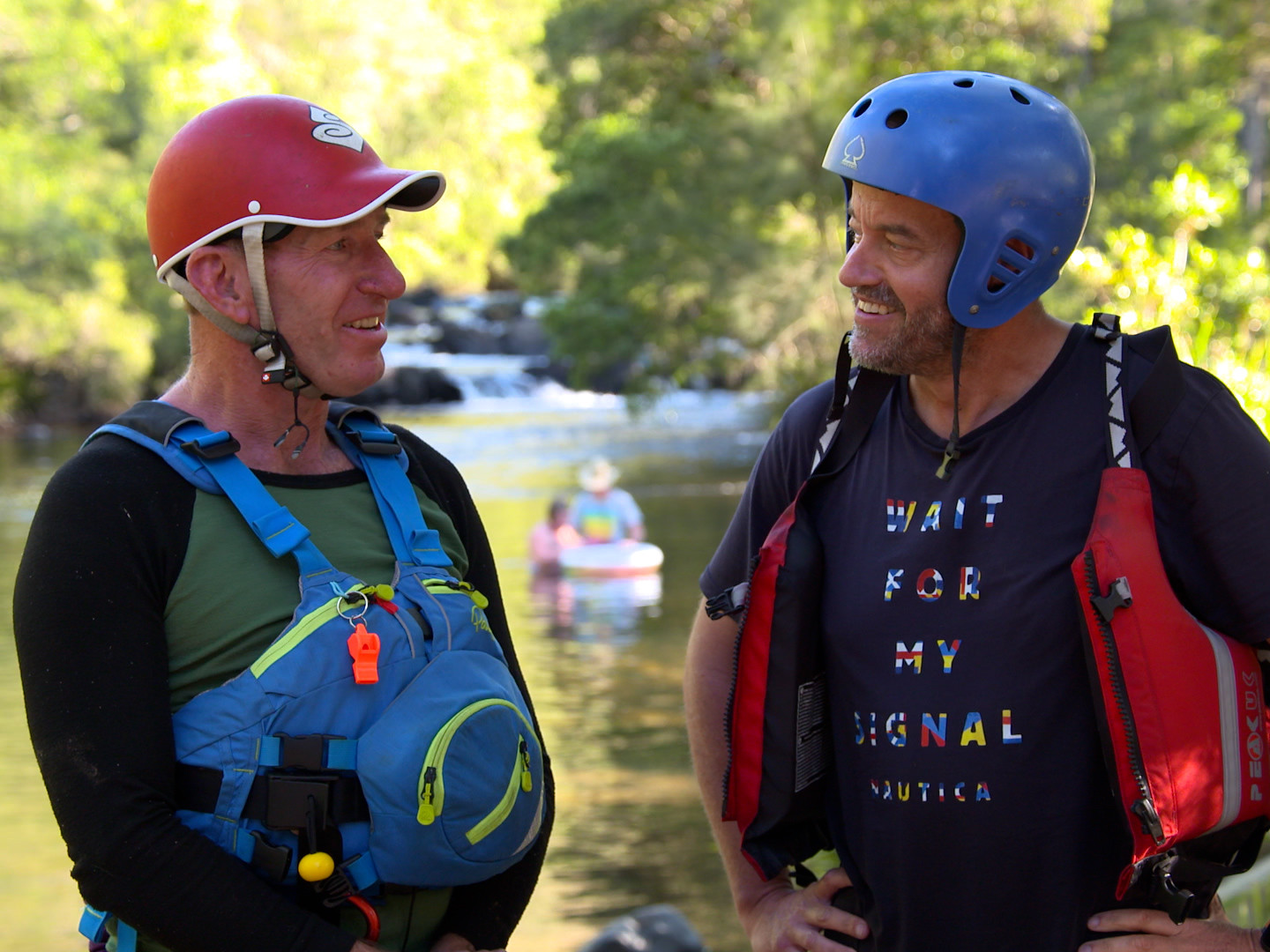 Adam Spencer and Brian Kilby wearing kayaking gear