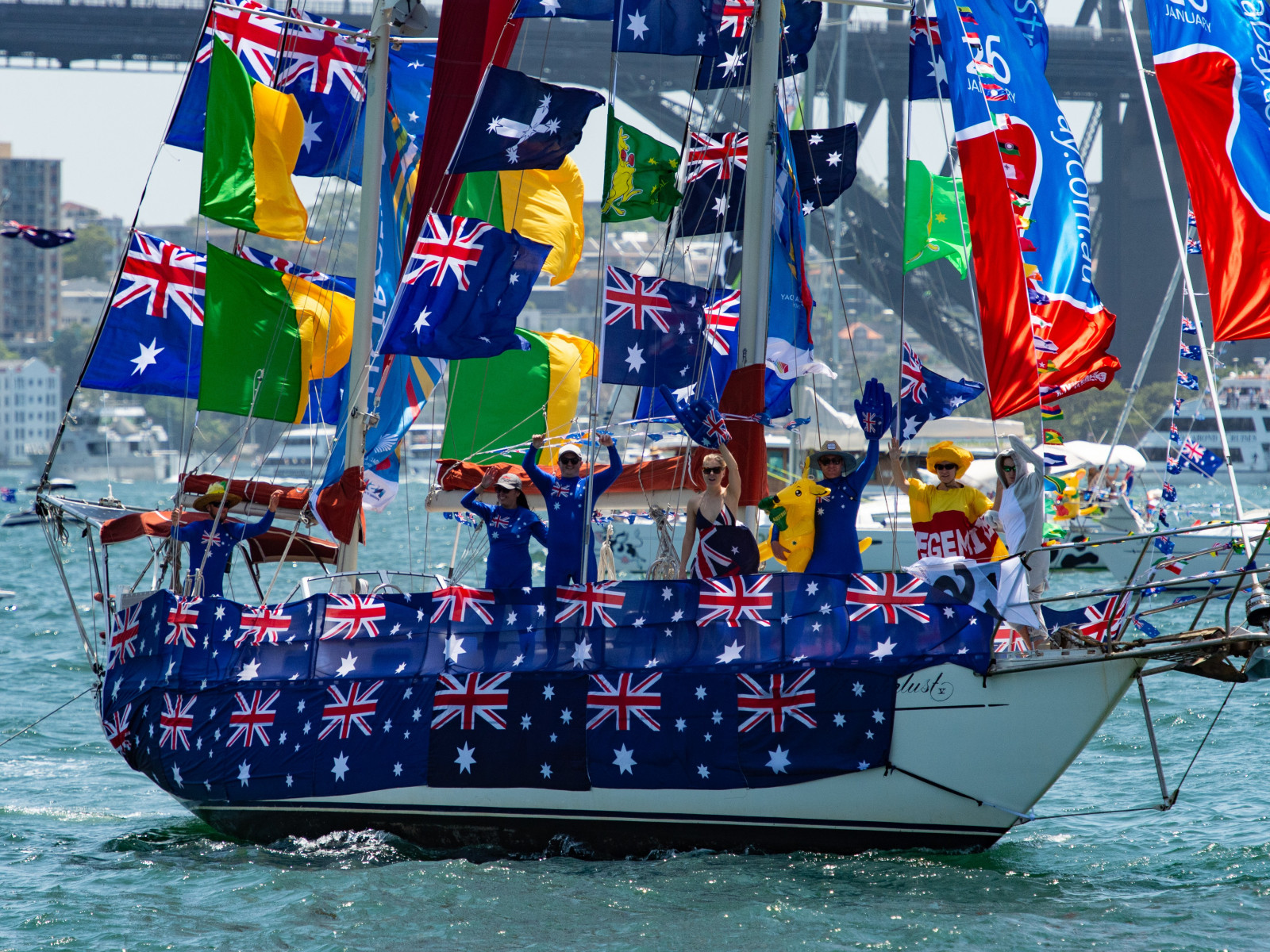 Wanderlust V won the Going Overboard Award at the Australia Day Harbour Parade 2019