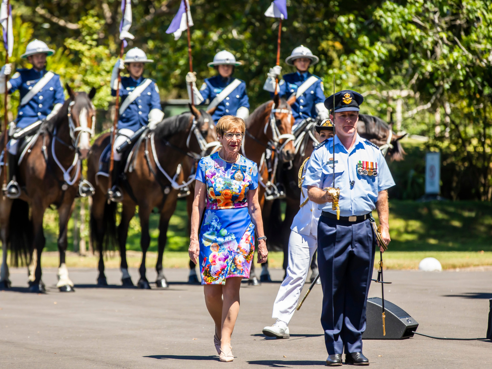 Governor of NSW Margaret Beazley OAM during Salute to Australia with NSW Mounted Police in background