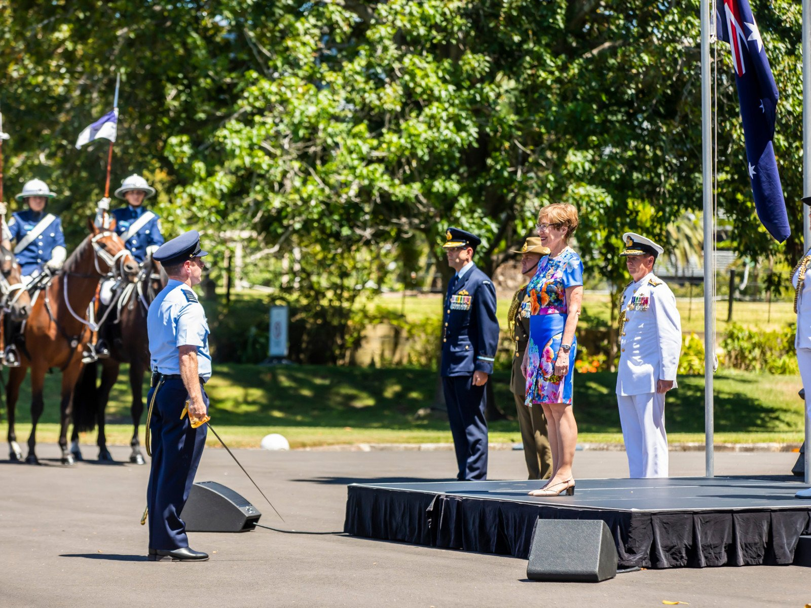 Governor of NSW Margaret Beazley OAM during Salute to Australia with the Royal Australian Navy, Australian Army and Royal Australian Air Force