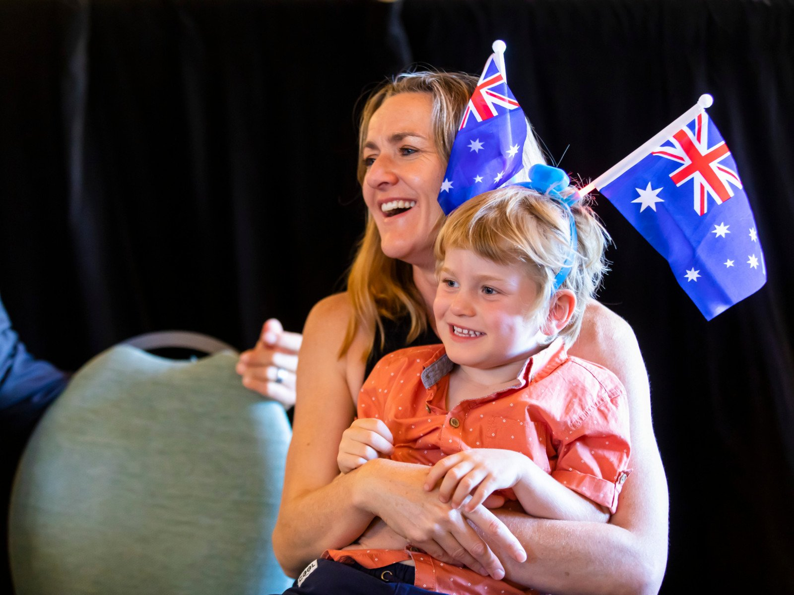 Ruth Calitz and son Hugo at Salute to Australia