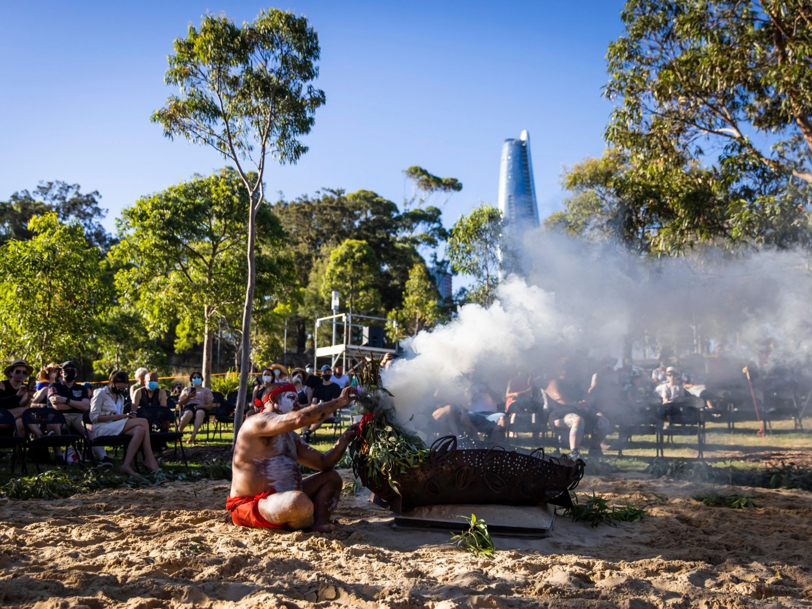 Smoking Ceremony at the WugulOra Morning Ceremony 2021